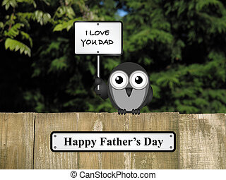 Happy Fathers Day - Comical bird happy Fathers day with I...
