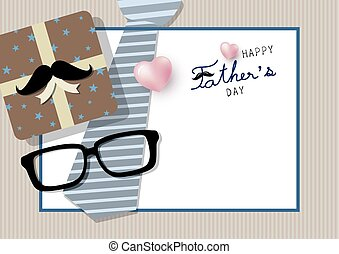 Happy father's day concept design of gift box with mustache...