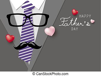Happy fathers day concept design of necktie and glasses with mustache vector illustration