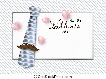 Happy fathers day concept design of necktie and mustache with copy space vector illustration