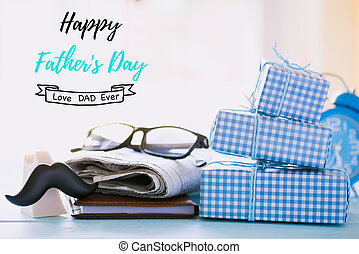Happy fathers day concept. Stack of beautiful gift box with...