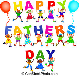 Happy Fathers Day Diverse Kids Text