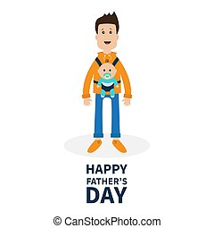 Happy fathers day. Funny cartoon guy Cute male character holding boy son in baby carrier sling. Parent take care of child. Surprise emotion. White background. Flat design