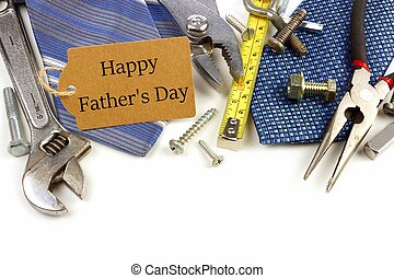 Happy Fathers Day gift tag with border of tools and ties on a white background