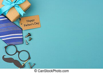 Happy Fathers Day gift tag with side border on a blue...