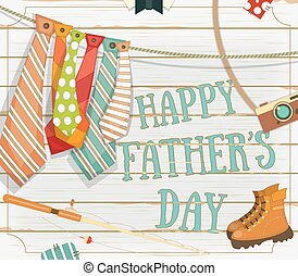 Happy Fathers Day Greeting Card. Vector Illustration.