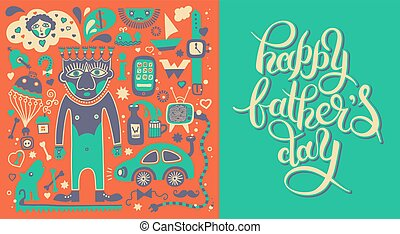 happy fathers day greeting card with hand lettering inscription