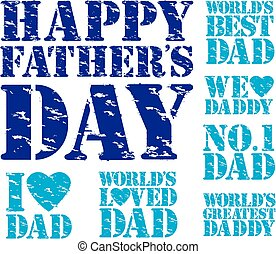 Happy fathers day grunge stamp set, vector illustration