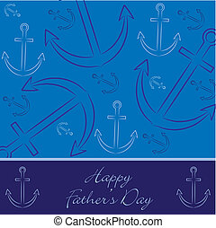 """Hand drawn anchor """"Happy Father's Day"""" card in vector format."""