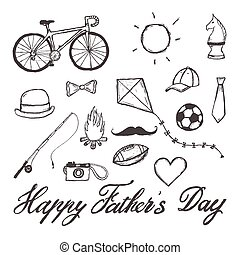 Happy Father's Day hand-drawn illustration with text - Happy...