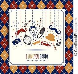 Happy fathers day illustration. Symbol of dad. - Happy...