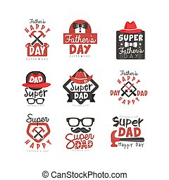 Happy Fathers Day logo set, Super Dad vector illustrations