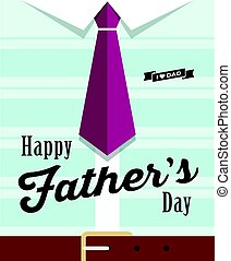 Happy fathers day necktie with blue shirt design background,...