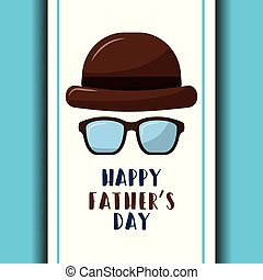 happy fathers day retro hat and glasses poster