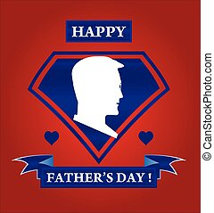 happy father's day. silhouette of man head on the blue shield shape