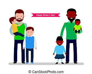 Happy Father's Day. Two happy father with children, single...