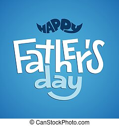 Happy Fathers Day. Vector lettering on blue jeans background