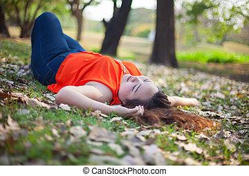 Happy fatty woman posing outdoor - Happy fatty asian woman...