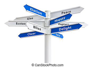 Happy feelings and emotions on a crossroads sign.