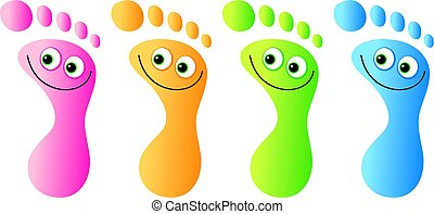 happy feet - A group of colourful feet with happy faces.