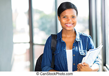 female african american college student close up