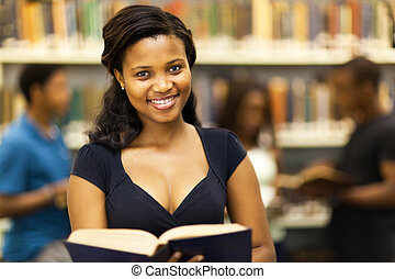 happy female african college student
