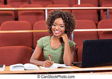 female afro american college student - happy female afro...