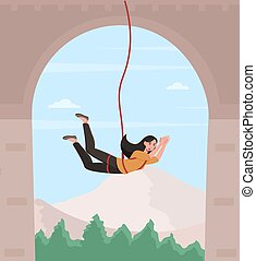 Happy female character is bungee jumping from a bridge