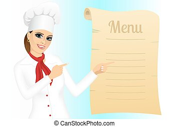 happy female chef pointing at menu