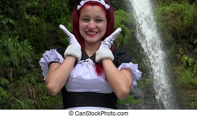 Happy Female Cosplay Maid
