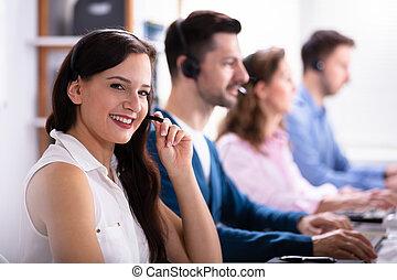 Happy Female Customer Service Executive