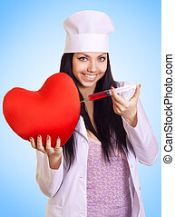 happy female doctor inject a syringe into the red heart on blue background