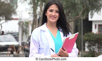 Happy Female Doctor Or Nurse