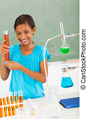 female elementary school pupil in science class