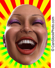 Happy Female Face - Conceptual image of a bald, but happy ...