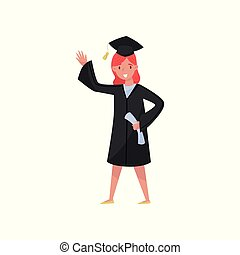 Happy female graduate, smiling graduation girl student in gown and cap waving her hand vector Illustrations on a white background