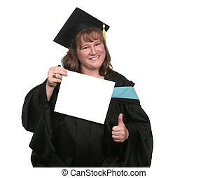 Happy Female Graduate With Blank Diploma