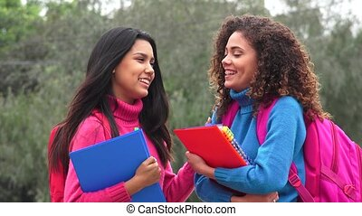 Happy Female High School Students