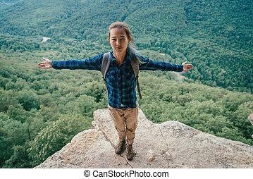 Happy female hiker
