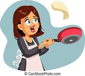 Happy Female Home Cook Flipping Pancake for Breakfast - ...