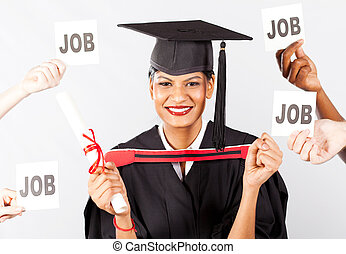 female Indian graduate with job offers