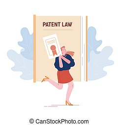 Happy Female Inventor or Author Character Holding in Hands Copyright Patent Law Certificate Document with Seal Stamp for Invention or Idea Creation and Acknowledgment. Cartoon Flat Vector Illustration