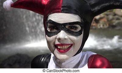 Happy Female Jester Cosplay