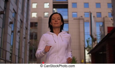 happy female jogger portrait