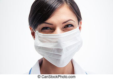Happy female medical doctor in mask