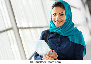 female middle eastern university student - happy female...