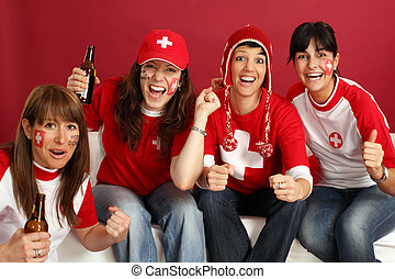 Happy female sports fans - Photo of female Swiss sports fans...