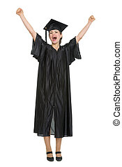 Happy female student celebrating graduation isolated