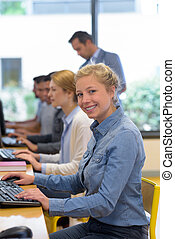 happy female student in the classroom