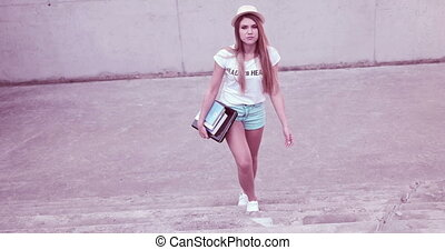 Happy Female Student Walking